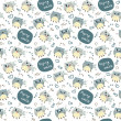 Seamless pattern with flying cats — Stok Vektör