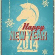 Vintage New Year's Eve Card with stylized horse image — Vecteur