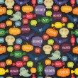 Seamless Halloween pattern with bats, pumpkins and text bubbles — Grafika wektorowa