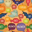 Seamless Halloween pattern with flying bats and text bubbles — ベクター素材ストック