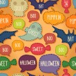 Seamless Halloween pattern with flying bats and text bubbles — Imagen vectorial