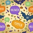 Seamless Halloween pattern with flying bats, pumpkin and text bubbles — Vettoriale Stock