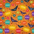Seamless Halloween pattern with flying bats and text bubbles — Stockvector