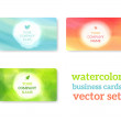 Set of business cards with watercolor background — Stockvektor