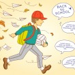 School boy go to school — Imagen vectorial