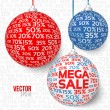 Sale new year spheres — Stock Vector