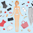 Paper doll in summer clothes — Stock Vector