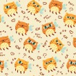Pattern with flying cats — Grafika wektorowa