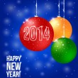 Happy New Year Background with balls with 2014 — Stock Vector