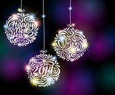 Happy New Year 2014 sparkling colorful ornament design — Stock Vector