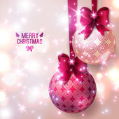 Purple Christmas baubles on light background — Stock Vector