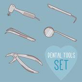 Set of vector dental tools — Stock Vector