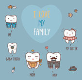 Happy family teeth set — Stock Vector