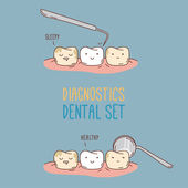 Comics about dental diagnostics and treatment — Stock Vector