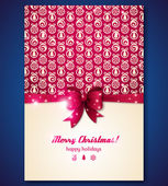 Vintage greeting card with Christmas balls and purple bow. — Stockvector