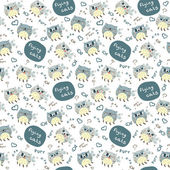 Seamless pattern with flying cats — Cтоковый вектор