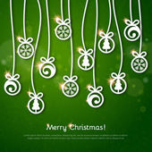 Vintage greeting card with Christmas balls. — Stock Vector