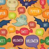 Seamless Halloween pattern with flying bats and text bubbles — Stock Vector