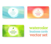 Set of business cards with watercolor background — Stock Vector