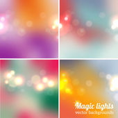 Set of soft blurry backgrounds with bokeh effect — Stock Vector