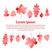 Autumn watercolor red leaves, vector eps 10 illustration isolated on white background — Stock Vector