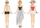 Chicas en ropa de verano — Vector de stock