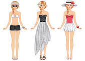 Girls in summer clothes — Vector de stock