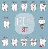 Teeth treatment set. Dental collection for your design with different teeth character — Stock Vector