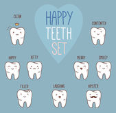 Happy teeth set. Dental collection for your design — Stock Vector