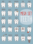 Teeth mega set. Big dental collection for your design — Stock Vector
