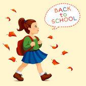 Menina ir para a escola — Vetor de Stock