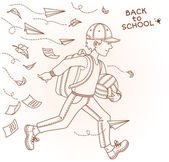Boy run to school — Vector de stock