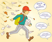 School boy go to school — Stockvektor