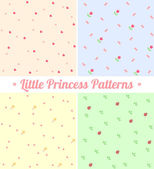 Set of cute seamless patterns for little princess — Stock Vector