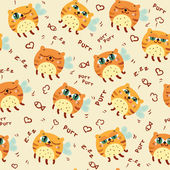 Pattern with flying cats — Vector de stock