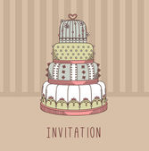 Invitation with wedding cake — Stock Vector