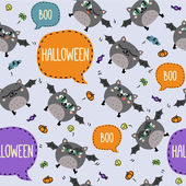 Seamless Halloween pattern with cute flying bats and text bubbles — Stock Vector