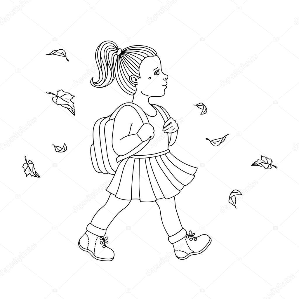 Девочка с рюкзаком раскраска