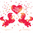 Vector de stock : Pink horses silhouettes with hearts.