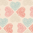 Vector seamless pattern of Valentine's Day in retro colors. — Stock vektor