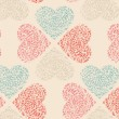 Vector seamless pattern of Valentine's Day in retro colors. — Векторная иллюстрация