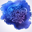 Romantic New year background on blue watercolor stain. — Stock Vector