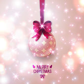 Beige Christmas bauble on light background. — Stock Vector