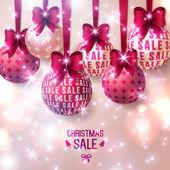 Christmas sale - Purple Christmas baubles on light background. — Stock Vector