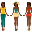 Girls in summer clothes. — Stock Vector
