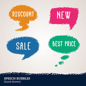 Sale hand drawn multicolored speech bubbles isolated on white. — Stock Vector