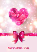 Beautiful greeting card with pink bow, polygonal heart and copy — Stockvector