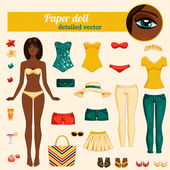 Cute dress up paper doll. — Stock Vector