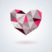 Geometric heart for Valentines Day design. — Cтоковый вектор