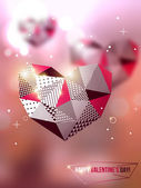 Polygonal mosaic hearts. — Stock Vector